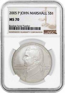 2005 P $1 John Marshall Commemorative Silver Dollar NGC MS70 Uncirculated Coin