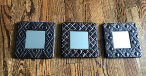 Set of 3 Small Accent Wall Mirrors, Distressed Oil Rubbed Bronze Metal Framed