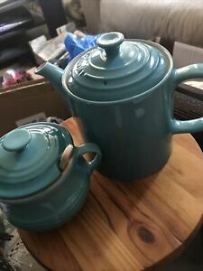 Le Creuset  Caribbean Blue Stoneware Grand Teapot, And Sugar Pot