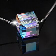 Aurora Silver Chain Colorful Square Stone Crystal Sexy Women Pendant Necklace