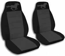 Black and Charcoal Horse Seat Covers  2008-2012 Ford Mustang Airb Friendly