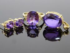 Vintage 14.6CTW Amethyst 14K Gold Cocktail Ring (sz 6.75), Pendant and Earrings