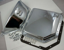 Chevy Chrome TH-350 TH350 Turbo 350 Transmission Pan & Flex Plate Cover Combo V8