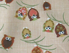 Japanese Cute Owls Owl Natural Fabric Half Yard