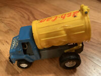 Vintage 1970 Topper Toys Ash Can Truck Pressed Steel Made in Japan Blue Yellow