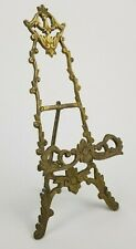 """Vintage Ornate Art Nouveau Brass Table Easel Plate Picture Display Stand 10"""""""