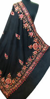 """Crewel Embroidered Black Floral Wool Shawl Multicolored Kashmir Art 80""""40"""" Wrap"""