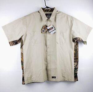 Wrangler Workwear Canvas Work Shirt Short Sleeve Tan / Camo