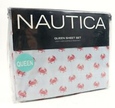 Nautica Crab Crabs Pinstripe Blue Red 4 Piece Queen Sheet Set Wrinkle Resistant