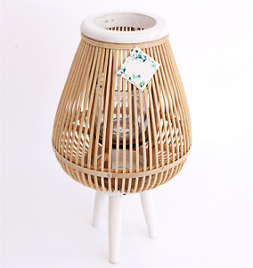 Shabby Chic Bamboo Wooden Candle Lantern on Legs