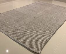 Grey Handmade Modern Recycled Cotton Rich Washable Kilim Rug 70x115cm -40% RRP