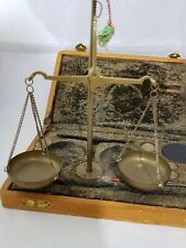 Vintage brass gold jewellery scale weights with velvet box