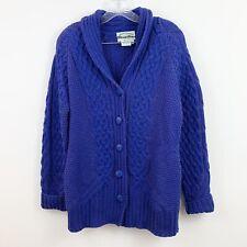 Aran Crafts Purple Cable Knit Merino Wool Cardigan Sweater Womens Size Small