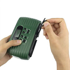 Green FM/AM Radio Hand Crank Solar Power with Cellphone Charger USB Port SD Card