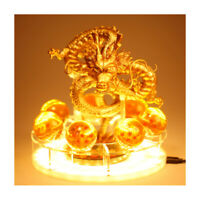Dragon Ball Gold Shenron Figure Collection Shenlong Statue with Balls LED Stand