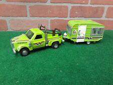 Vintage Truck & Camper Travel Trailer Toy Set