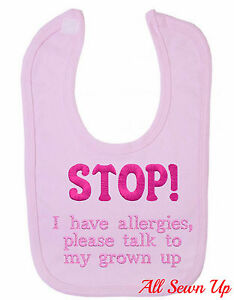 """Embroidered Allergy Bib: """"STOP!"""""""