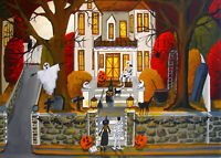 5x7 art print THE HALLOWEEN HOUSE witch black cat spider ghost owl decoration DC