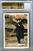 1997 Scoreboard #58 Mickey Mantle WORN YANKEES JERSEY BGS 9.5 GEM MINT