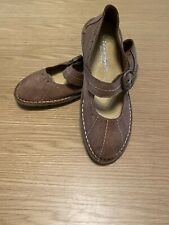 Ten Points Womens Mary Jane Flats Brown Tan Size 38 UK 5 Soft Leather Suede New