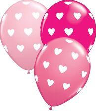 """10 pc 11"""" Pink Hearts Around Latex Balloons Birthday Anniversary Wedding Love"""