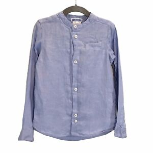 Jacadi Paris Boys 100% Linen Button Down Long Sleeve Blue Lightweight Top 5A