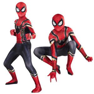 Avengers Endgame Iron Spider-Man Peter Parker Kids Cosplay Costume Zentai Suit