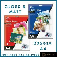 8-32 Sheets A4 235 gsm High Glossy and Matt Gloss Premium Quality Photo Paper