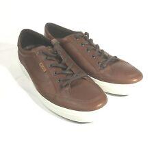 ECCO Mens Soft Suede VII Low Top Lace Up Fashion Sneakers, Cognac, Size 13