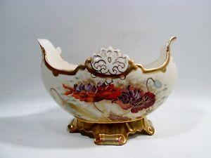 Antique ROBERT HANKE Art Nouveau POPPIES Bowl Bohemian Hand Painted Porcelain