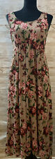 Blush Pink Rose Floral Maxi Maternity Dress Large Scoop Neck Bow Empire Waist