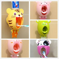 Auto Automatic Toothpaste Dispenser Cartoon Cute Wall Mount Stand Bathroom Sets