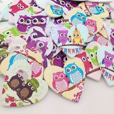 10/50/100pcs Cute Wooden Big Heart Print Owl Buttons Doll Sewing Craft WB53