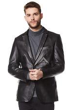 'CLASSIC Men's Real  Leather Jacket BLAZER Black Tailored Soft Napa Coat Z-120