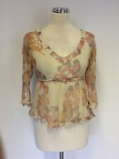 PINK SODA SILK CREAM & PINK FLORAL 3/4 SLEEVE CRINKLE LOOK TOP SIZE SMALL