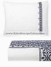 KATE SPADE 7pc KING DUVET WHITE Blue Embroidered FLORAL SCROLL ~ BNIP ~$635