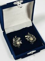 Vintage Clip On Earrings Silver Tone & Aurora Borealis Crystal Flowers Pretty