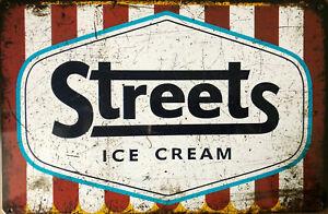 ICE CREAM Rustic Look Vintage Tin Metal Sign Man Cave, Shed-Garage & Bar Sign