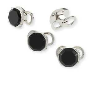 Dunhill Dress Studs Diamond Encrusted With onyx & Sterling Silver BNWB RRP £2695