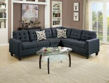 Black Polyfiber Sectional Sofa Set Loveseat Wedge Armless Chair Modern Couch