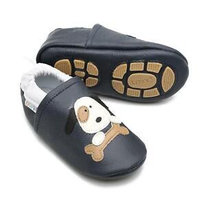 Liya's Krabbelschuhe Hausschuhe Lederpuschen  - #646 Hund in dunkelblau