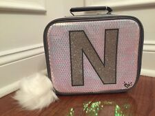 Justice Silver Sequin Sparkle Unicorn Initial N Lunch Box Tote New!
