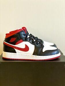 NEW Air Jordan 1 Mid GS White Gym Red DJ4695-122 Grade School SIZE 6.5Y (8W)