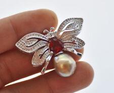 Pearl Beryl-Butterfly Ruby Cz Brooch P7519 15mm Peacock-lavender Edison Keshi