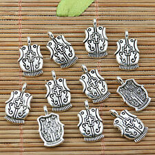 32pcs tibetan silver cross pattern sheild coat charm pendants EF1937