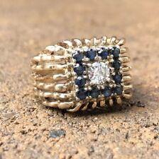 Modernist Brutalist 10K Yellow Gold Natural Blue Sapphire & .30ct Diamond Ring