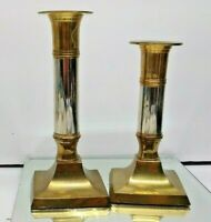2 GOLD AND SILVER TONE TAPER CANDLE HOLDERS HOME DECOR