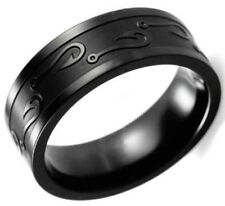 Engraved Fish Hook Carved Size 9 Black Tungsten Stainless Steel Ring USA  SELLER