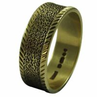 9ct Yellow Gold 6mm Textured Pattern Flat Shape Wedding Band Ring
