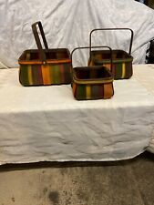 Set Of Three Square Woven Baskets With Handles Multicolored